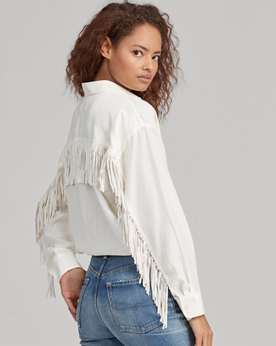 Fringe-Trim Silk Button-Down