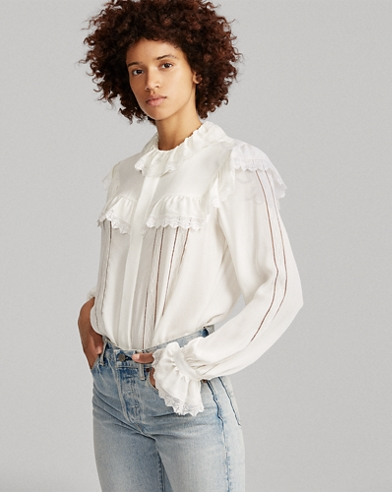 Lace-Trim Silk Blouse