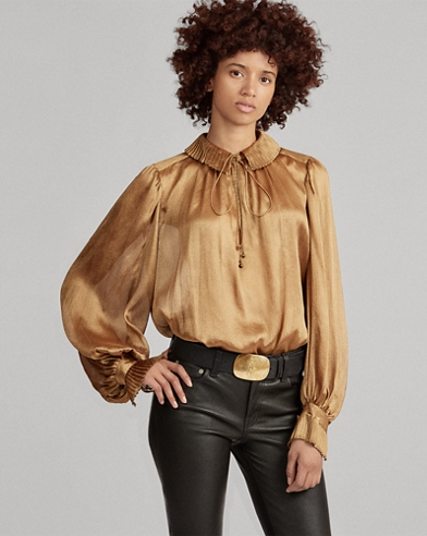 Metallic Crinkle Blouse