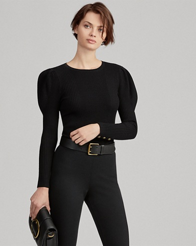 Puff-Sleeve Ribbed Jumper