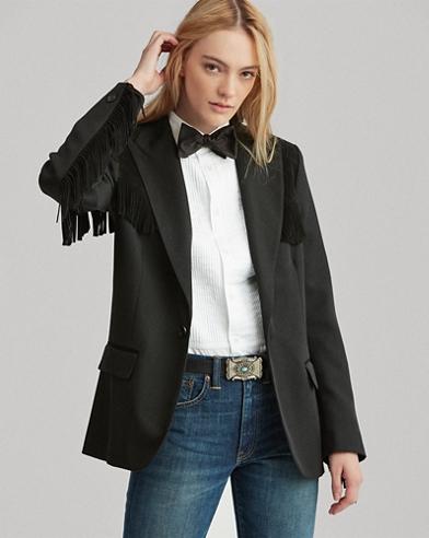 Tweed-Blazer mit Fransenbordüre
