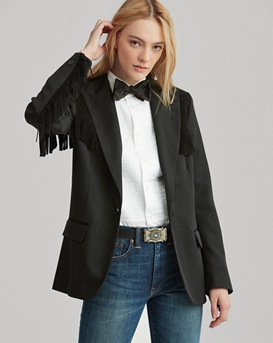 Blazer en tweed à bordure frangée