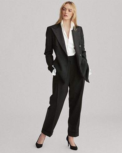 Satin-Trim Wool Straight Trousers