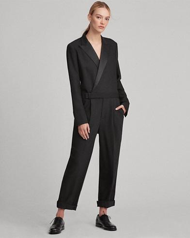 Wool-Blend Tuxedo Jumpsuit