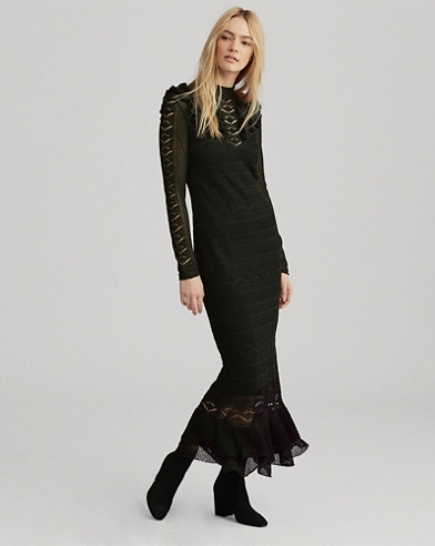 Pointelle-Stitched Midi Dress