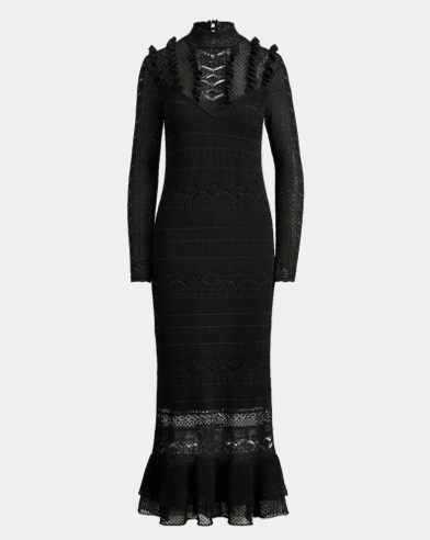 Pointelle-Stitched Midi Dress
