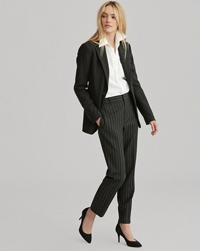 Pinstripe Stretch Wool Trouser