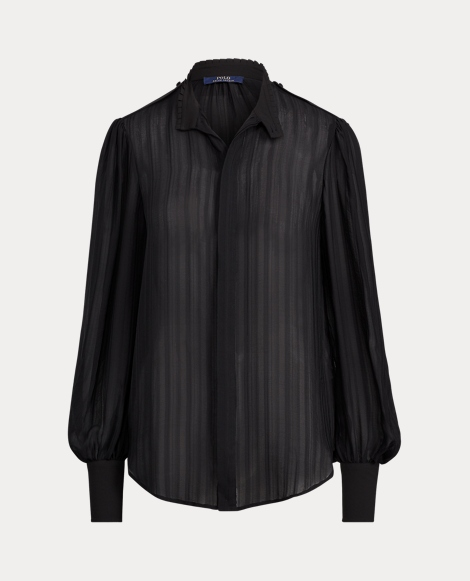 Jacquard-Stripe Silk Blouse
