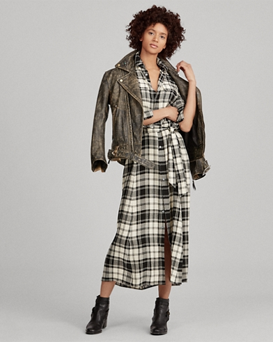 Plaid Twill Shirtdress