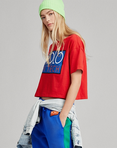 Hi Tech Cropped Cotton T-Shirt