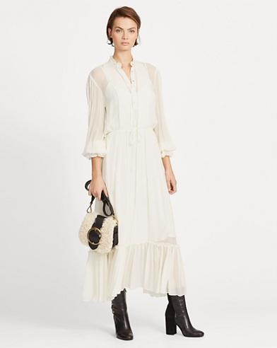 Ruffle-Trim Chiffon Dress