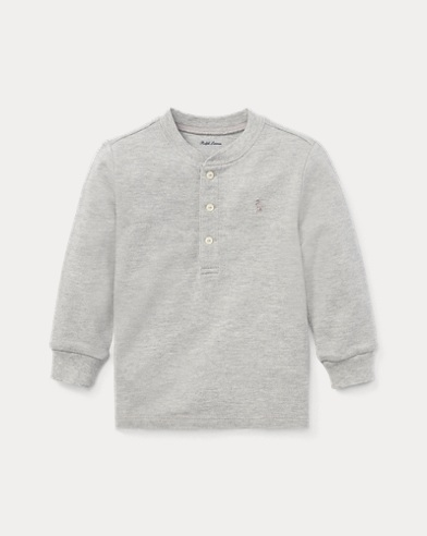 Cotton Mesh Henley Shirt