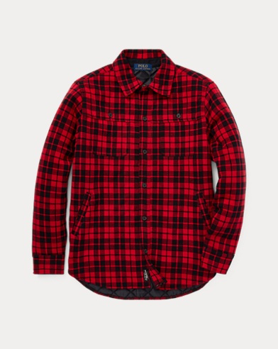 Plaid Knit Cotton Shirt Jacket