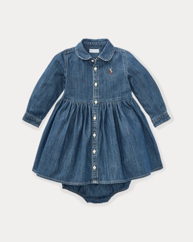 Shirred Denim Shirtdress