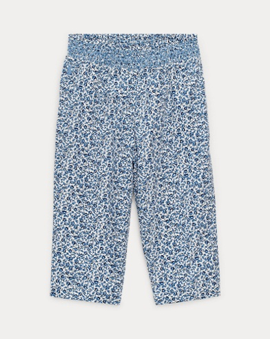 Smocked Floral Pull-On Pant