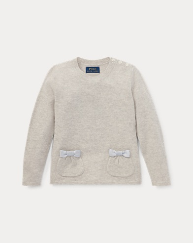 Bow-Pocket Wool Sweater