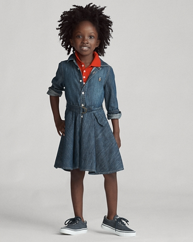 Belted Cotton Denim Shirtdress