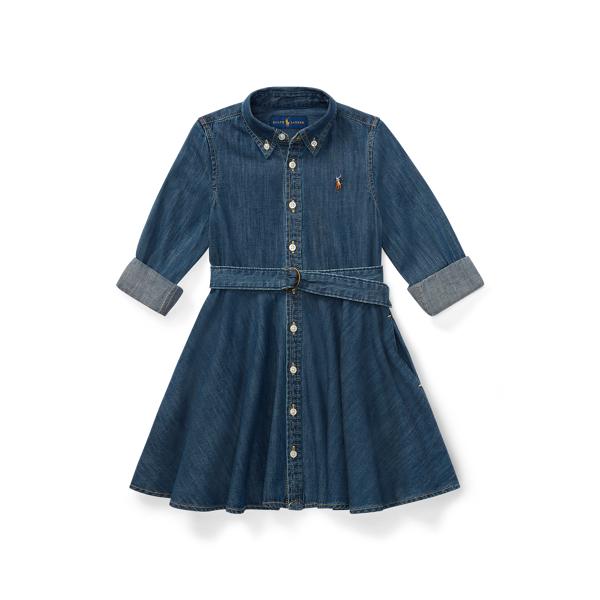 폴로 랄프로렌 여아용 셔츠드레스 Polo Ralph Lauren Belted Cotton Denim Shirtdress,Indigo