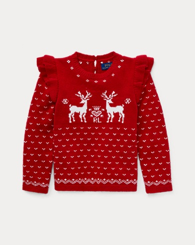 Ruffled Reindeer Sweater