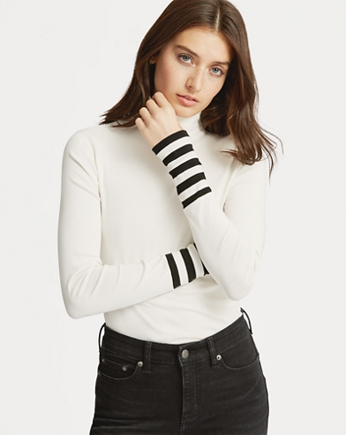 Striped-Sleeve Turtleneck