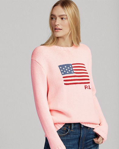 Pink Pony Flag Cotton Sweater