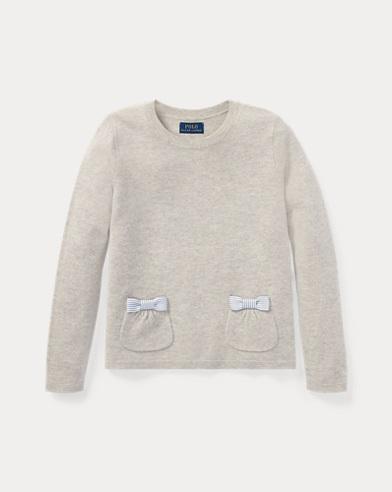 Wollpullover mit Schleifenbesatz