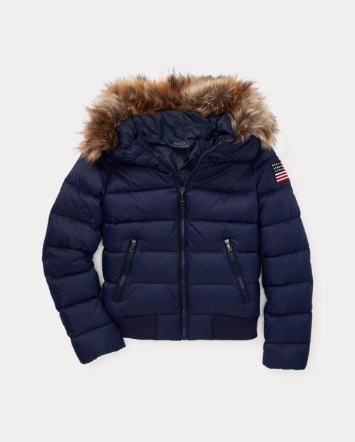 899d5ba5fd0d GIRLS 7-14 YEARS Faux-Fur-Trim Down Coat 1