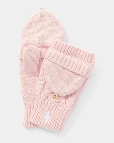 Aran-Knit Fold-Back Mittens