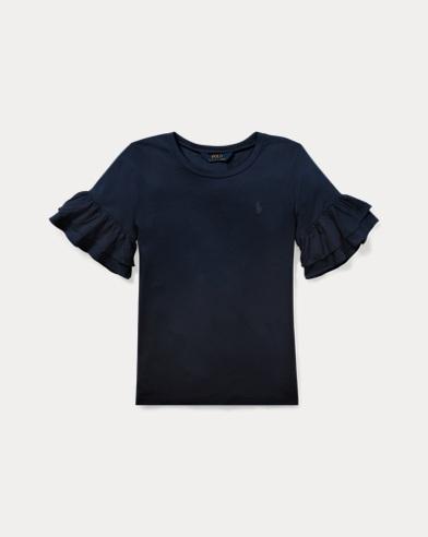 T-shirt à col rond volanté