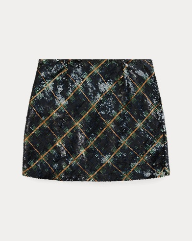 Plaid Sequinned Skirt