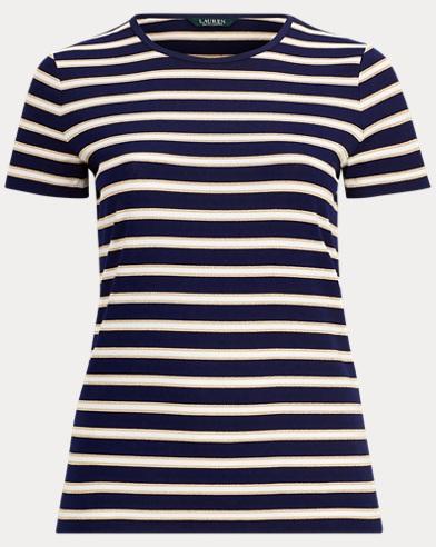 Metallic-Stripe Jersey T-Shirt