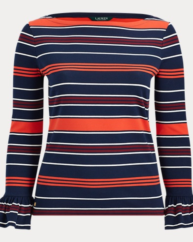 Striped Bell-Cuff Top