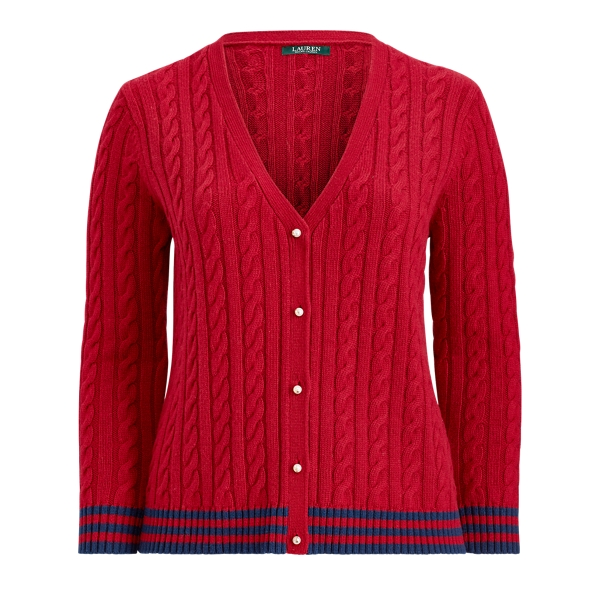 Ralph Lauren Cable-Knit Cardigan Crimson/Navy 3X
