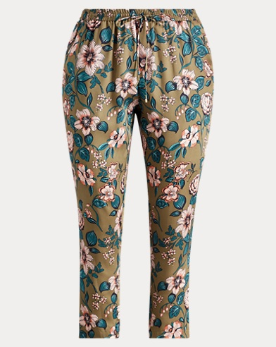 Floral-Print Twill Pant