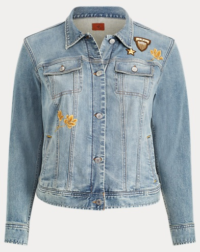 Embroidered Patch Denim Jacket. Lauren Woman