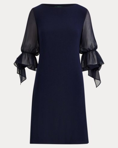 Georgette-Sleeve Jersey Dress
