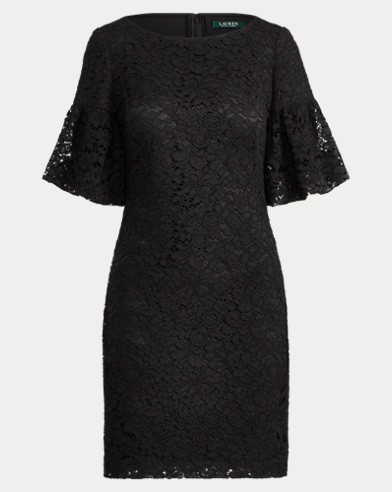 Shirred-Sleeve Lace Dress