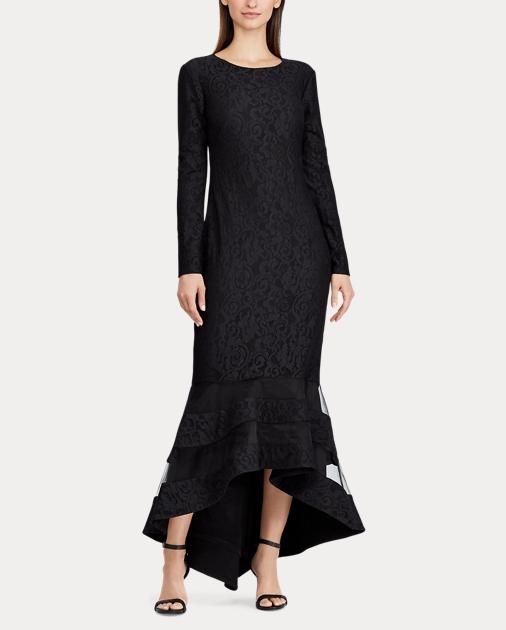 Lauren Tulle-Panel Lace Gown 2 4460e2084