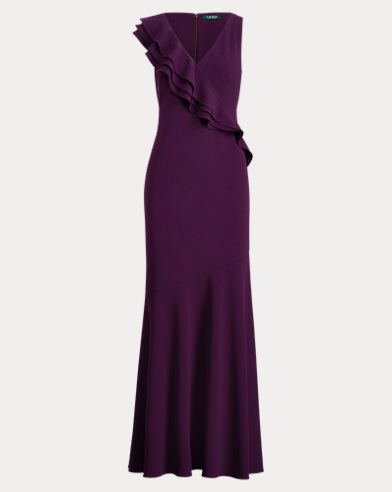 Ruffle-Trim Jersey Gown