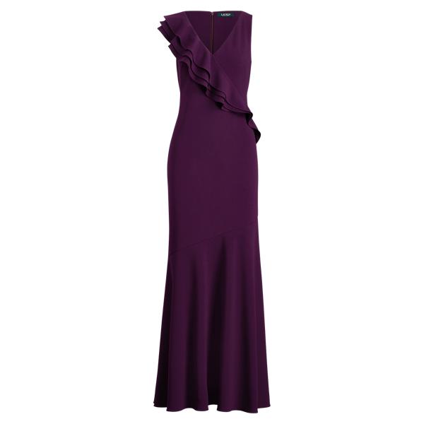 Ralph Lauren Ruffle-Trim Jersey Gown Raisin 2