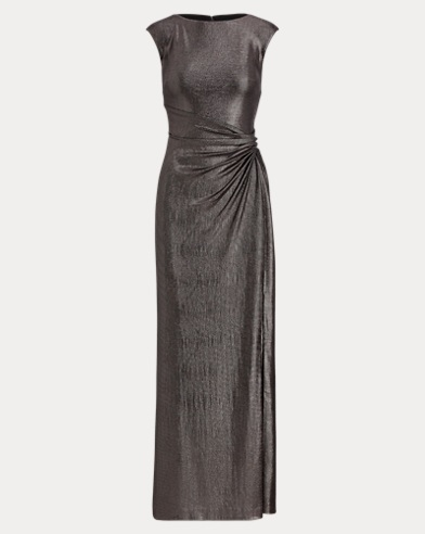 Metallic Cap-Sleeve Gown