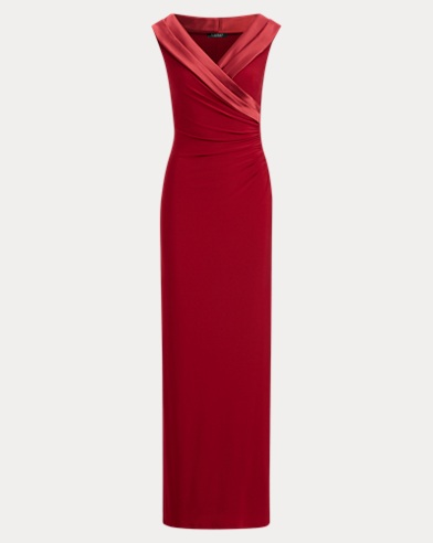 Sequin-Trim Jersey Gown