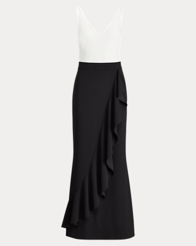 Ruffled Two-Tone Gown
