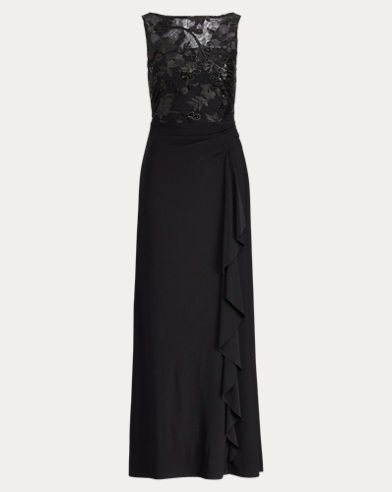 Ruffled Embroidered Gown
