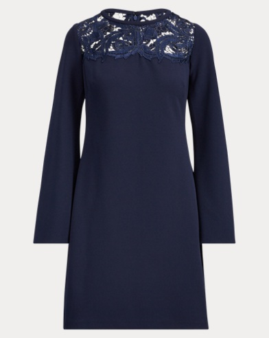 Lace-Yoke Jersey Dress