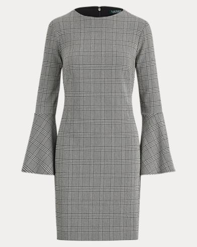 Glen Plaid Bell-Sleeve Dress
