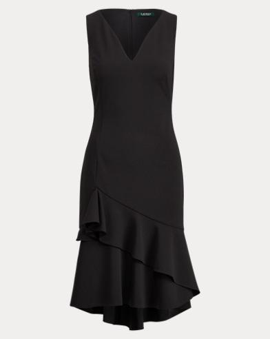 Ruffle-Hem Crepe Dress