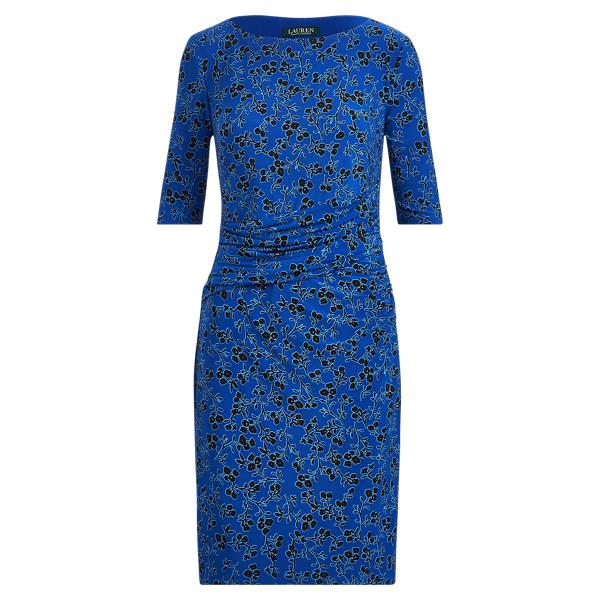 Ralph Lauren Print Jersey Dress Blue Ocean-Blue-Multi 6