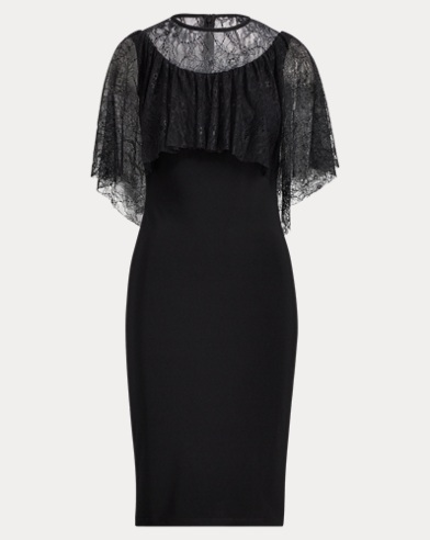 Lace-Overlay Jersey Dress