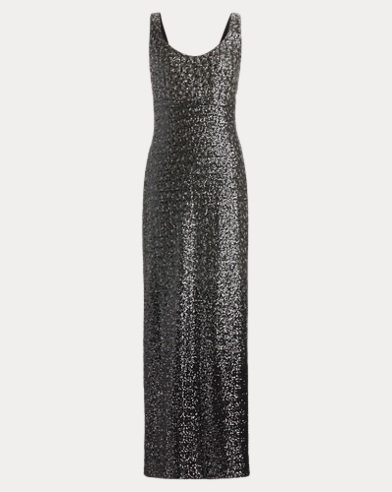 Sleeveless Sequined Gown